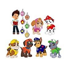 Paw Patrol Set of 7 Removable Wall Stickers with Free Set of Dogtag Stickers Featuring Chase, Marshall, Rocky, Zuma, Rubble, Skye, and Ryder