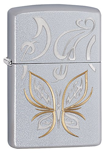 Lighter Chrome Pocket - Zippo Butterfly Design Satin Chrome Pocket Lighter