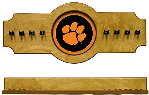 (NCAA Clemson Tigers CLMCRR100-O 2 pc Hanging Wall Pool Cue Stick Holder Rack - Oak)