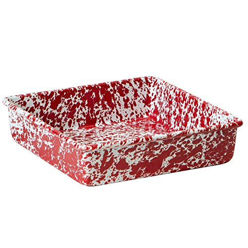 - Enamelware Square Brownie Pan, 9 inch, Red/White Splatter