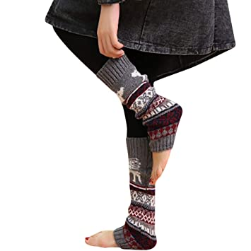 76711ba6fef28 Amazon.com : Binmer Women Socks, Winter Warm Leg Warmers Christmas Elk  Snowflake Knitted Crochet High Long Socks Leggings (Gray2) : Beauty