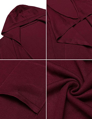 Mofavor Womens Open Front Casual Flowy Long Kimono Knit Cardigan Sweater With Pockets Wine Red S by Mofavor (Image #5)