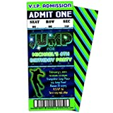 Trampoline Party JUMP Birthday Invitations Boy Green Blue Ticket