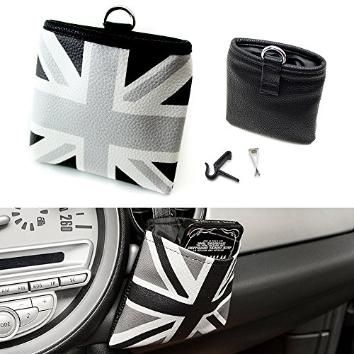 iJDMTOY (1) Black/Grey Union Jack UK Flag Style Air Vent Hanging Organize Bag For Smartphone, Drinks, Sunglasses, - Sunglasses Organize
