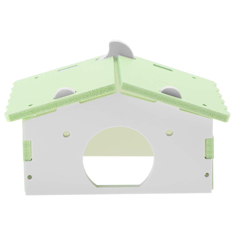 GLOGLOW Wooden Triangle Hamster House Assembling Waterproof Rat Hut Mouse Cage Small Animal Pet Toys Nesting Habitat(Green)