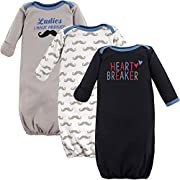 Luvable Friends Baby 3 Pack Cotton Gown, Heart Breaker, 0-6 Months