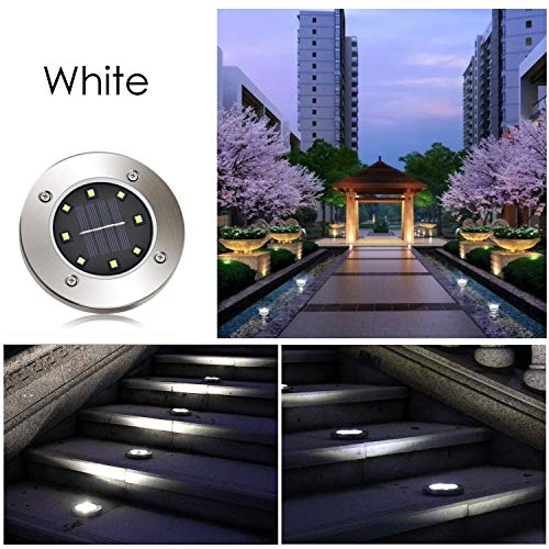 Solar Pathway Lights Outdoor, Solar Garden Light 8 LED, Water-Resistant for Garden, Path, Landscape, Patio, Driveway, and Lawn, Easy No-Wire Installation (4 Pack- White) by Subsistent (Image #5)