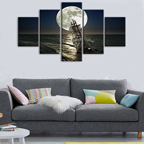 Moon Boat Full (Yatsen Bridge Blue Ocean and Moon Canvas Wall Decor,5 Piece Canvas Wall Art Boat Seascape Picture Full Moon Night Modern Home Decorations for Living Room Stretched and Framed(60''W x 32''H))
