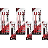 Pilot Precise V5 RT Retractable Rolling Ball Pens, Extra Fine Point, 6 Each, Red Ink (26082) with 6 Red Ink Refill