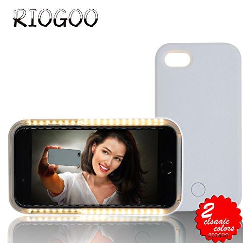 Selfie Licht Case Hülle, RIOGOO Telefon Selfie Hülle mit Facetime - Led Dimmbare Beleuchtet Handyhülle Selfie