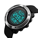 Digital Sport LED Screen Large Face Outdoor Men Watch for Waterproof Alarm Stopwatch Back Light Wristwatch (Black)