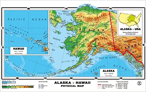 NEW MAP! XXL - 71 Inches - Original Relief Alaska & Hawaii Physical ...