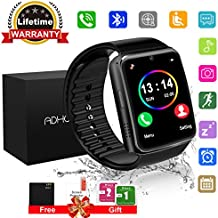 Bluetooth Smart Watch Touchscreen with Camera,Unlocked Watch Cell Phone with Sim Card Slot,Smart Wrist Watch,Waterproof Smartwatch Phone for Android Samsung IOS Iphone 7 6S Men Women Kids (black)