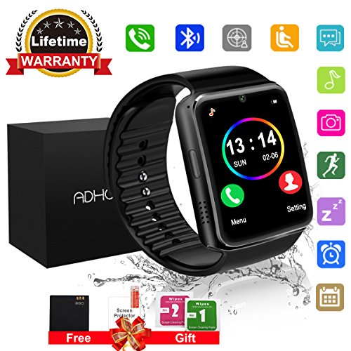 Bluetooth Smart Watch Touchscreen With Camera Unlocked Watch Cell Phone With Sim Card Slot Smart Wrist Watch Waterproof Smartwatch Phone For Android Samsung Ios Iphone 7 6S Men Women Kids  Black