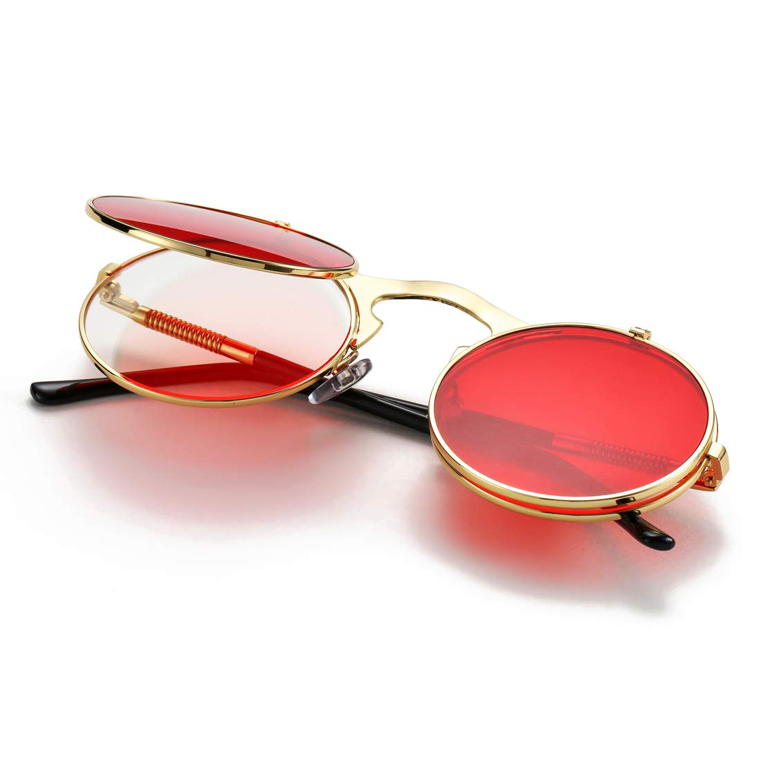 COASION Vintage Round Flip Up Sunglasses for Men Women Juniors John Lennon Style Circle Sun Glasses CA2004D