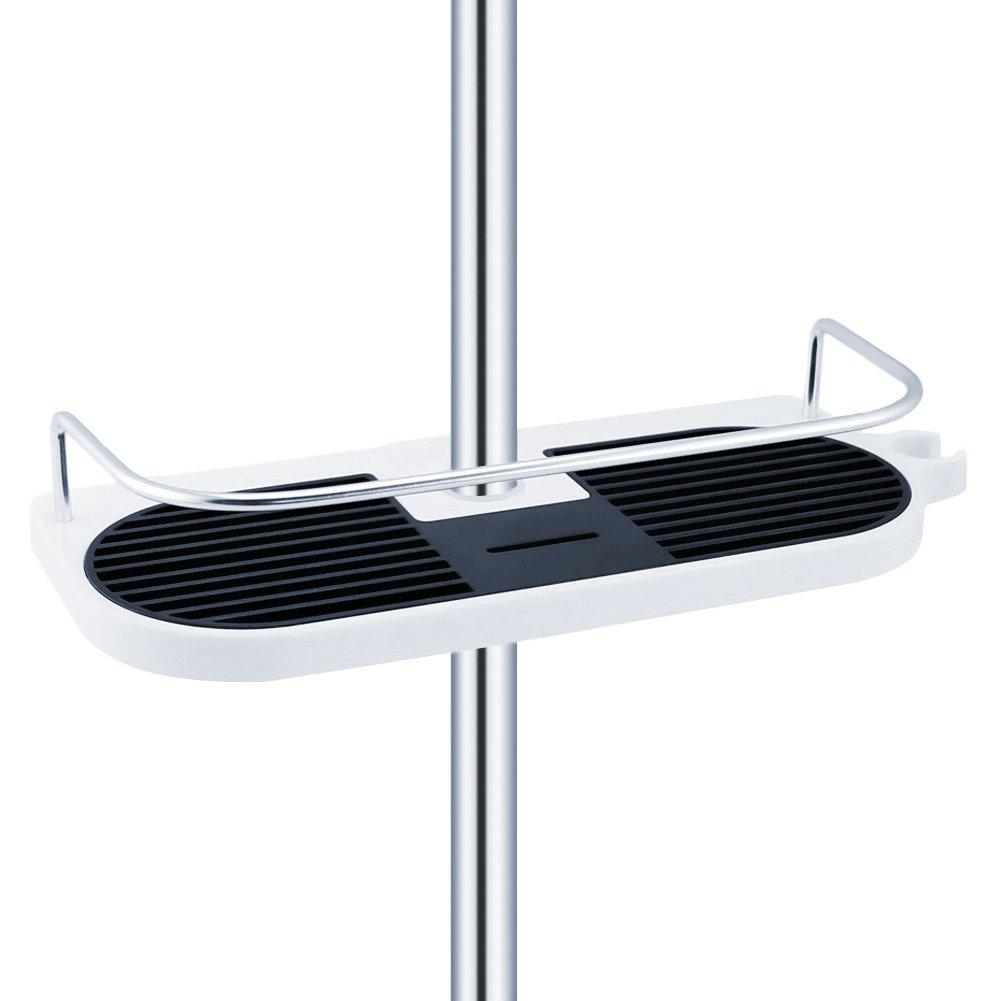 AimdonR Space Aluminium Dusche Caddy Regal Rack Organizer mit Schiene 2 Haken Halter Stand für Seife Shampoo Conditioner, NO Bohren Wand Montiert-Anzug 19mm - 25mm Schiene