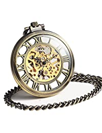 ManChDa Mechanical Brass Big Wheel Golden Movement Skeleton Pocket Watch Fob Open Face with Chain + Gift Box