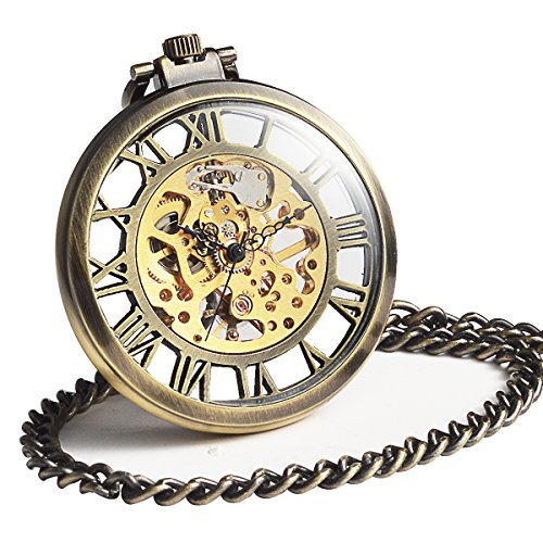ManChDa Mechanical Brass Big Wheel Golden Movement Skeleton Pocket Watch Fob Open Face with Chain + Gift (Brown Stainless Steel Pocket Watch)