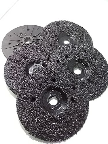 5 Pack of Ultra Zek Wheels GRIT 8 Grinding Silicon Carbide Heavy Duty Discs Threaded 5/8''-11 - Diameter 4.5'' by Diamond Tools