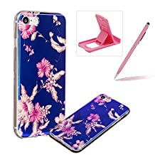 Silicone Case for iPhone 7,Herzzer Luxury Ultra Slim Stylish Blue Light [Flower Leaves Pattern] Dual Layers Protection Soft TPU Bling Sparkle Glitter Protective Designer Case Cover for iPhone 7 4.7 inch + 1 x Free Pink Cellphone Kickstand + 1 x Free Pink Stylus Pen