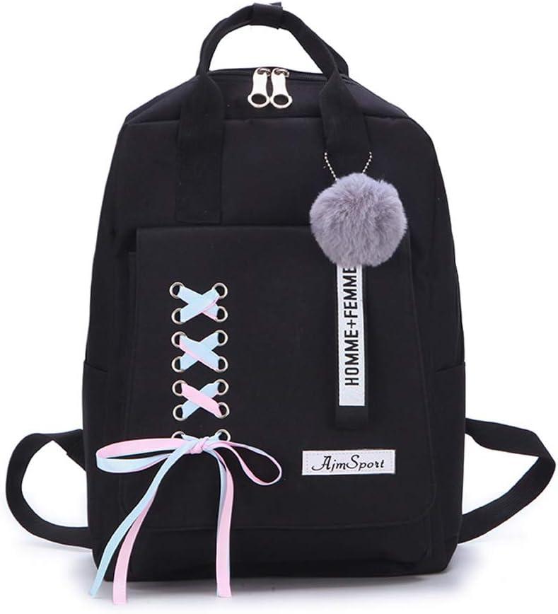 CANRAN School Backpack Teen Girls Bookbag for Laptop Book Bag Travel Rucksack Daypack for Men Women Boys Girls (Black)