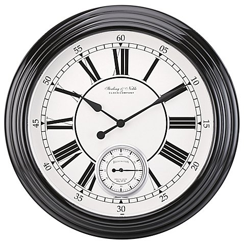 Sterling & Noble Classic Wall Clock in Black by Sterling & Noble