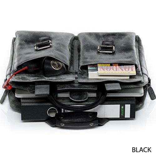 SID & VAIN® Laptoptasche HARVEY - Unisex Notebooktasche groß Ledertasche 13 Zoll Laptop gepolstertes Gerätefach - Businesstasche im Vintage-Look Damen Herren echt Leder braun Braun