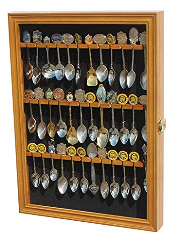 Tea Spoon Souvenir Spoon Display Case Rack Cabinet, Real Glass Door, (Oak Finish) - Oak Display Rack