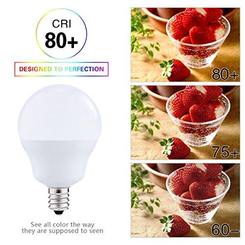 LED Light Bulbs Candelabra Base 40W Equivalent, JandCase 5W, 450lm, Natural Daylight White 4000K, G14 LED Globe Bulbs for Ceiling Fan, Vanity Mirror Light, E12 Base, 6 Pack by JandCase (Image #5)