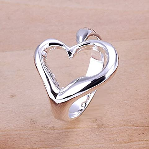PMANY Heart Ring 925 Sterling Silver plated,Open Back Design Adjustable Ring for Women Girls - Ilaria Collection