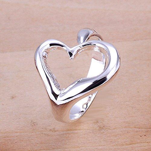 PMANY Heart Ring 925 Sterling Silver plated,Open Back Design Adjustable Ring for Women Girls (White) ()