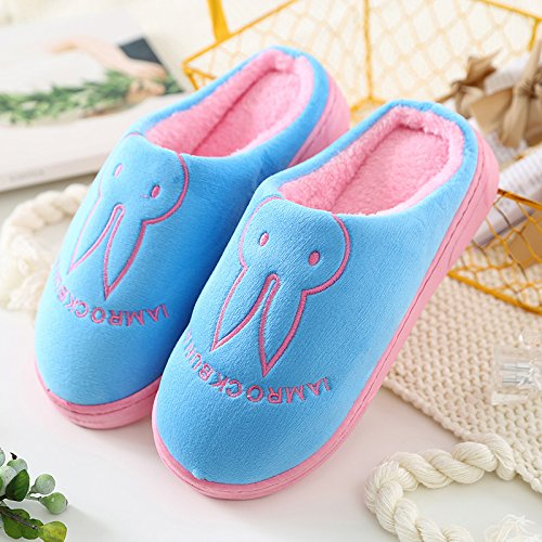 Aemember Bag Of Cotton Slippers With Couples Home Soft Thick Bottom Bottom Skid In Winter Indoor Home Furnishing Shoes,42-43 (Fit For 41-42 Feet),Sky Blue (Ban Bao)