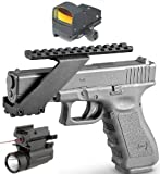 Ultimate Arms Gear Tactical Combo Combination Package Kit Set Pistol Includes Precision Machined Aluminum No Gunsmithing Weaver Picatinny Top & Bottom Rail Pistol Gun Handgun Scope Mount for Sights , Lasers , Lights and Accessories + Tactical Micro Compact Red Dot Open Reflex Sight + New Gen. Tactical Pistol Firearm Gun Compact QD LED Flashlight Light & Red Dot Laser Sight Combo With Weaver / Picatinny Base Rail Fits Glock Pistols with Front Accessories Rail