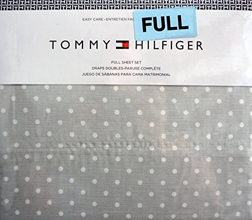 (Tommy Hilfiger 4 Piece Full Sheet Set Small White Polka Dots on Gray)