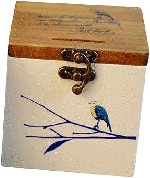 Hucha Caja de monedas de madera sólida pájaro azul de madera ...