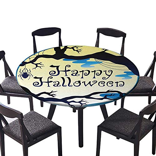 Round Polyester Tablecloth Table Cover Happy Halloween Quote Spooky Night Moon and Branches Shadows Haunted Lights YEL for Most Home Decor 50