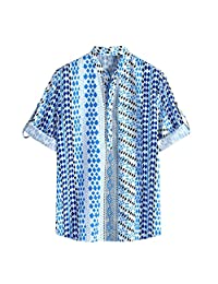 Minikoad_Men Coat Men Fashion Dot Printed Shirt Tops, Male Half Sleeve Casual Button Stand Collar T-Shirt Blouse Tunic Tops