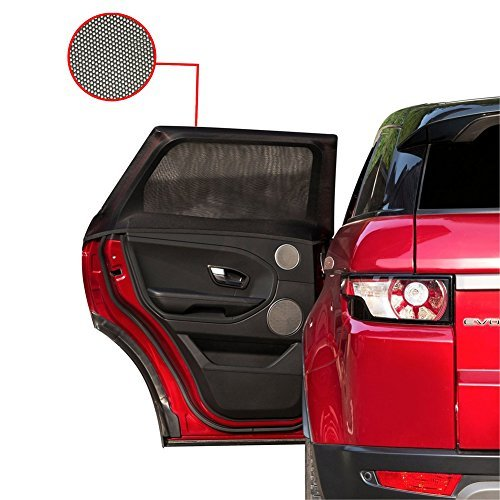 (Tuoro Car Side Window Sun Shade - Car Sunshade Protector - Universal Fit Winow Slip On Stretchable Mesh Protective - Protect your kids and pets in the back seat from sun glare and heat - 2 Pack)