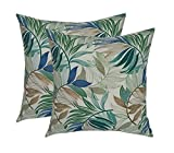 Set of 2 - Indoor / Outdoor Square Decorative Throw / Toss Pillows - White, Blue, Teal, Green, Tan Tropical Palm Leaf - Choose Size (20'' x 20'')