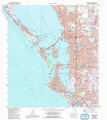 YellowMaps Sarasota FL topo map, 1:24000 Scale, 7.5 X 7.5 Minute, Historical, 1973, Updated 1992, 26.9 x 24 in - Tyvek