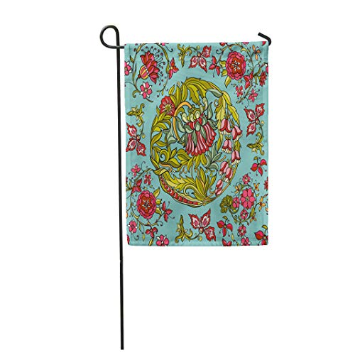 - Semtomn Garden Flag 12x18 Inches Print On Two Side Polyester William Floral in Middle Ages Style Morris Victorian Abstract Antique Baroque Be Home Yard Farm Fade Resistant Outdoor House Decor Flag