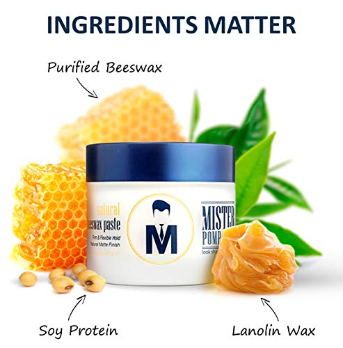 Mister Pompadour Natural Beeswax Paste | Matte Hair Product for Men & Women | HIgh Hold & No Shine | Water Based - Easy To Wash | 2oz