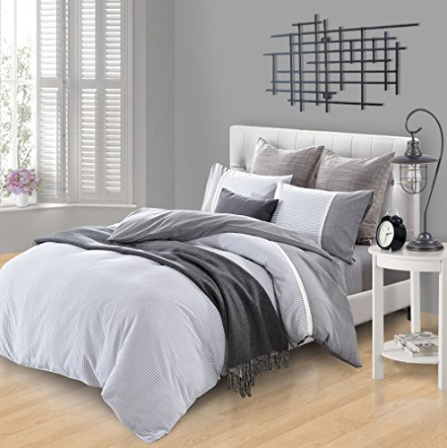 MARRIKAS 300TC Cotton QUEEN REVERSIBLE DUVET COVER SET GREY WHITE