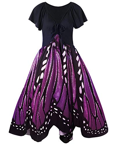 GAMISS Women's Vintage Butterfly Print Short Sleeves A-Line Plus Size Dress XL-5XL(Purple1,5XL)