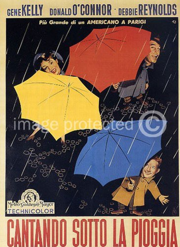 Singin' in the Rain 1952 Vintage Movie Poster Art Italian Ve