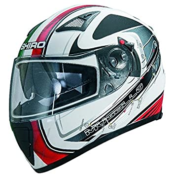 Shiro SH-3700 GP Mugello - Casco integral de moto, color negro y blanco