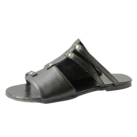2a3fc33b131 Sunyastor Womens Open Toe Flat Sandals Retro Cut Out Slip Leather Sandals  Casual Summer Shoes Ladies