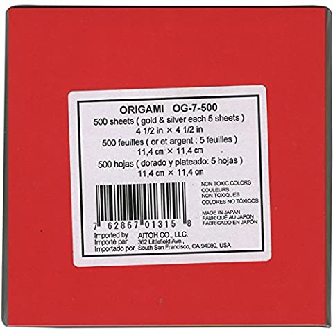 Aitoh OG7-500 Origami Paper School Pack, Assorted Color, 1.5