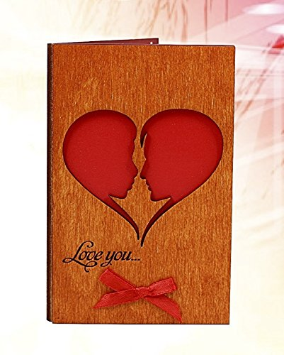 Handmade Real Wood Card Love You He and She (Soulmates) as a Big Heart Unique Gift Idea for 5th Wooden Wedding Dating Anniversary or Best Thinking of You Card for Him or Her