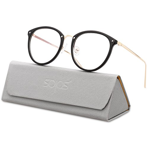 SojoS Round Women Eyeglasses Fashion Eyewear Optical Frame Clear Glasses SJ5969 With Black Frame/Gold - Prescription Lenses Without Eyeglasses